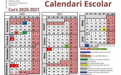 Calendari escolar curs 2020-2021
