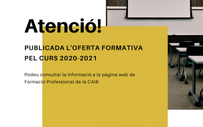 Publicada l'oferta formativa pel curs 2020-2021