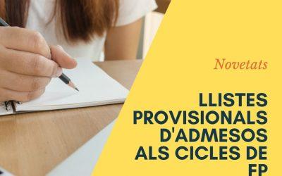 LLISTATS PROVISIONALS D'ADMESOS CICLES FP 20-21